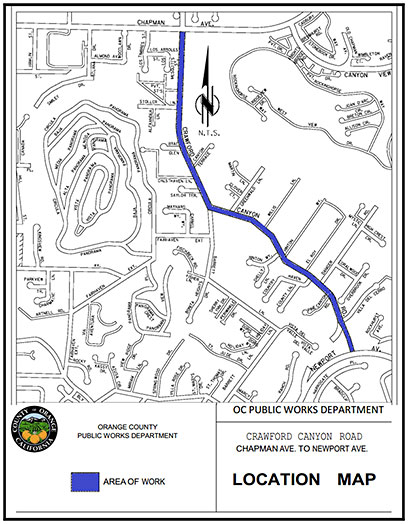 Crawford Canyon Road Storm Drain Safety Improvements Project Location Map