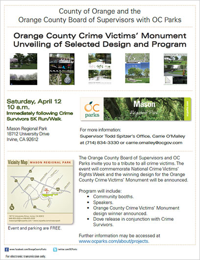 Unveiling of OC Crime Victims' Memorial Finalist' Exhibition Unveiling Reception