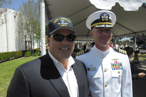 Pictured with Supervisor Nelson is Capt Scott Adams, commander of the Pt Loma Naval Station