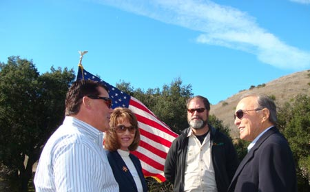 From left to right, Supervisor Nelson, Supervisor Bates, Supervisor Moorlach and Donald Bren all gather for a brief chat before the ceremony of one of the biggest land transfers in county parks history. To read more, please click the link below.