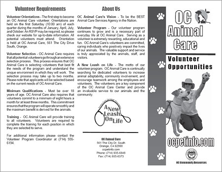 OC Animal Care Volunteer Opportunities.