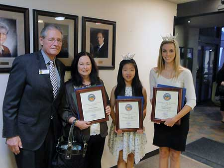 Presentation at the Placentia Council Meeting to Miss Teen Placentia and Mill Placentia.