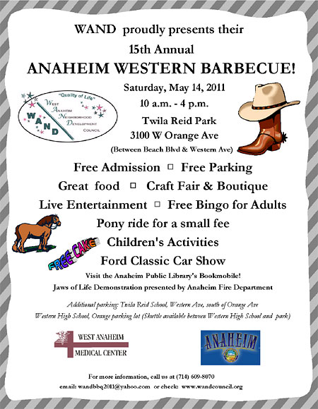 Anaheim Western Barbecue Flyer.