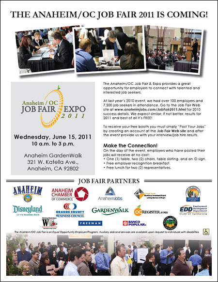 Anaheim/OC Job Fair Expo Flyer for Employers