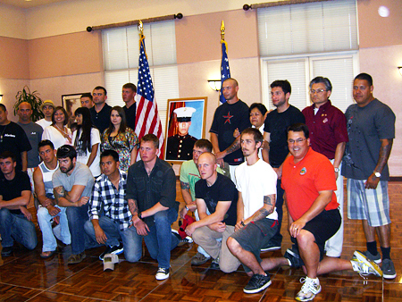 Supervisor Nelson with with the Marine Scout-Snipers of the team that fought in Afghanistan.