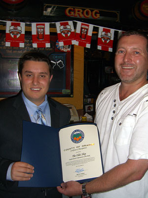 Nelson staffer Nick Constantino and restaurant owner Simon Collier