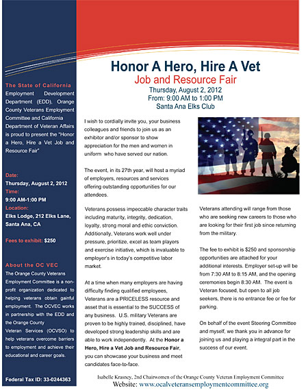 Hire A Hero flyer