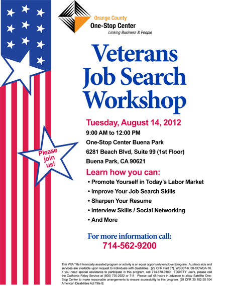 Veteran Job Workshop flyer